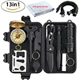 Justech Emergency Survival Kit 13 in 1, Mini Survival Gear Kit Outdoor Survival Tool with Thermal Blanket Carabiner Bracelet Fire Starter More for Adventure Outdoors Sports Traveling Hiking