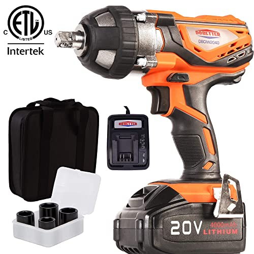 4Ah Battery Impact Wrench 1 2 Cordless Impact Wrench 20V Portable Compact Impact Gun with 4Pcs Sockets, Carry Bag, 4A Li-ion Battery and Fast Charger, Dobetter-DBCIW2040