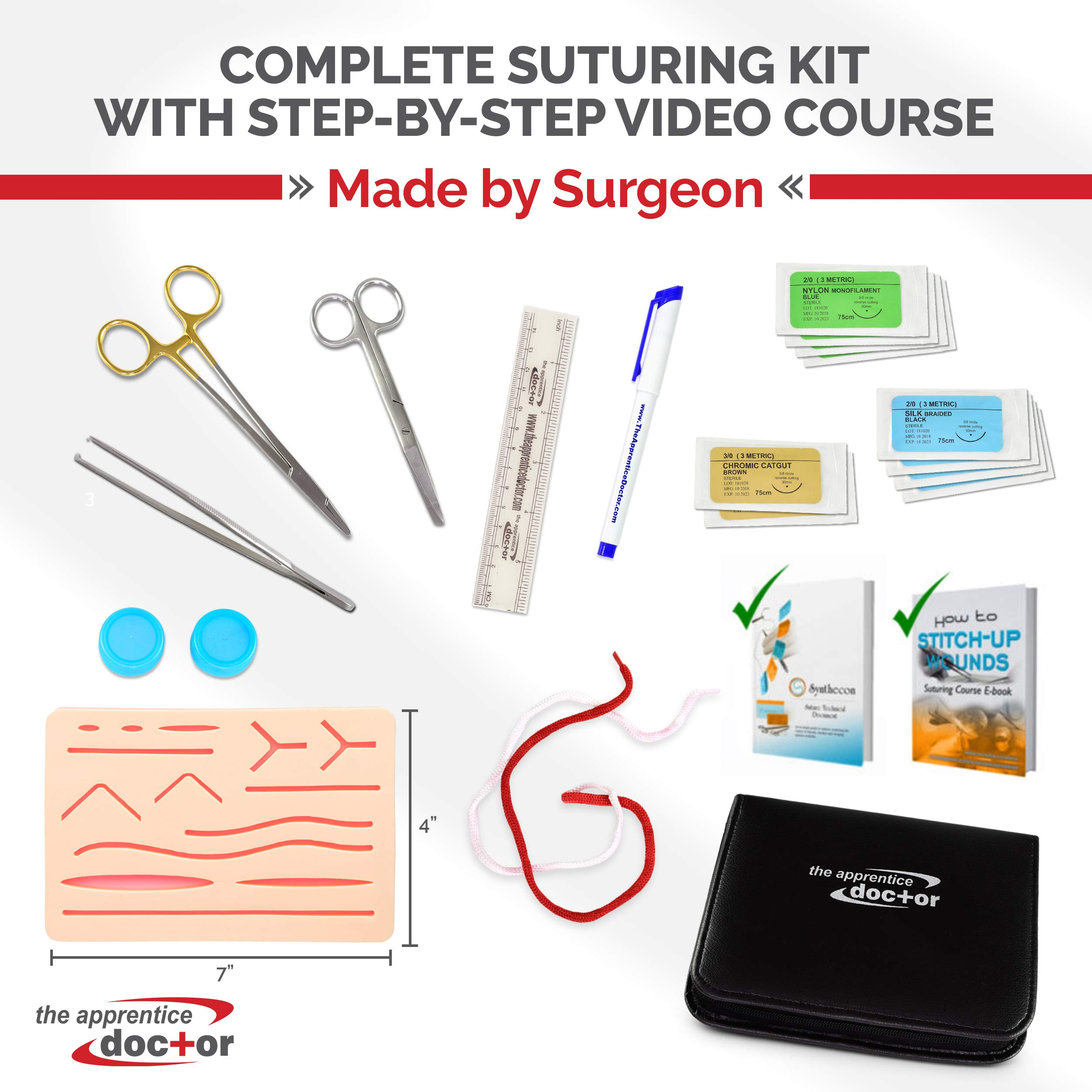 Complete Suture Practice Kit with Training Course by Surgical Specialist   Perfect for Medical Students, Nurses, Vet Students   All-in-One Solution for Anyone Learning How to Suture. by The Apprentice Doctor