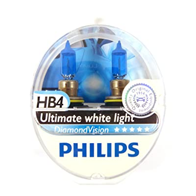 Philips Diamond Vision 5000K Ultimate White Halogen Bulbs 9006 HB4 (Pack of 2): Automotive