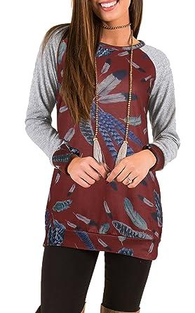 f9ad417bf457 ECOWISH Damen Warme Lange Ärmel Feder Muster Rundhals Loose Stitching Shirt  Tuniken Bluse Wein-Rot