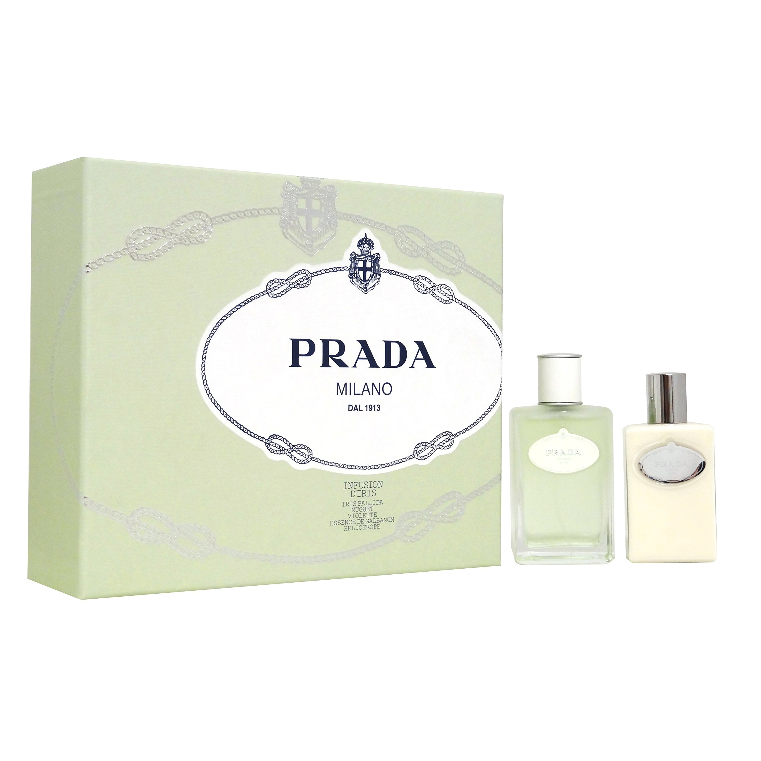 Prada Milano Infusion D'iris for Women Gift Set (Eau de Toilette Spray, Hydrating Body Lotion)