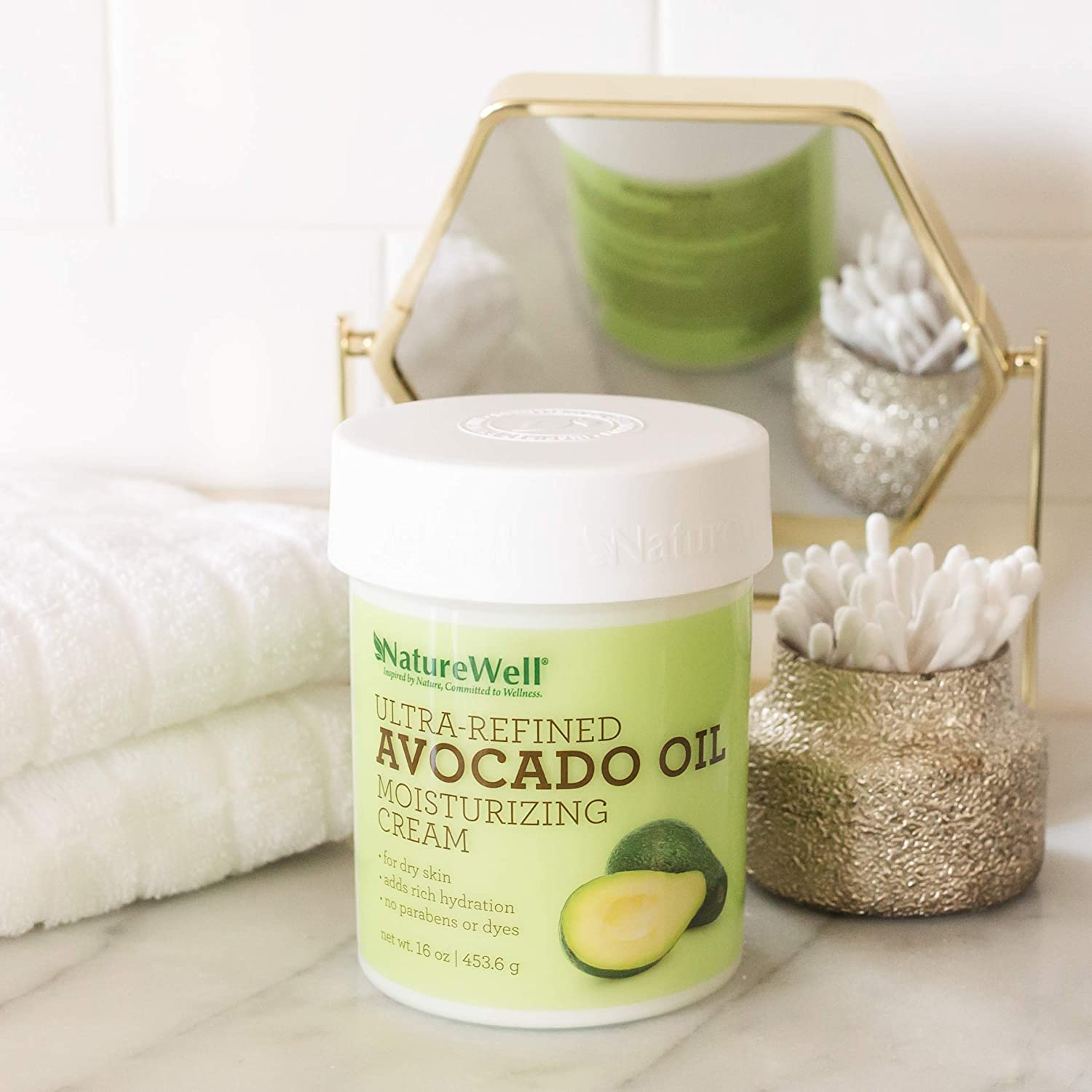 Avocado Oil Antioxidant-Rich, Paraben and Dye Free, Moisturizing Cream for Face and Body, 16 oz.