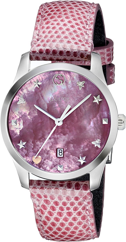 Gucci Reloj Análogo clásico para Mujer de Cuarzo con Correa en Cuero YA126586