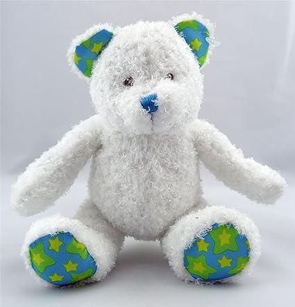 Lindo Pequeño Adorable Felpa Blanco Con Verde Paws Oso De Peluche Aprox. 17.8cm