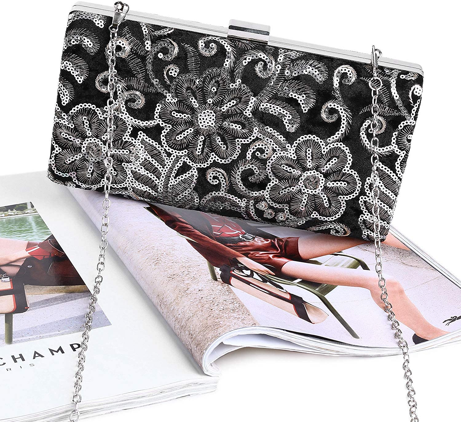 UBORSE Women Evening Bags Embroidery Wedding Party Clutch Purse Vintage Handbag
