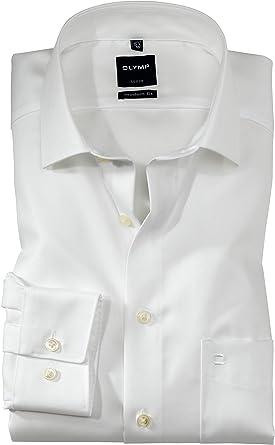 Olymp Luxor - Camisa de manga larga con cuello de tiburón ...