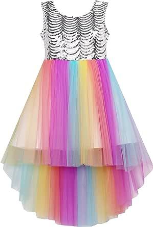 Sunny Fashion Flower Girls Dress Unicorn Rainbow Pageant Princess Party