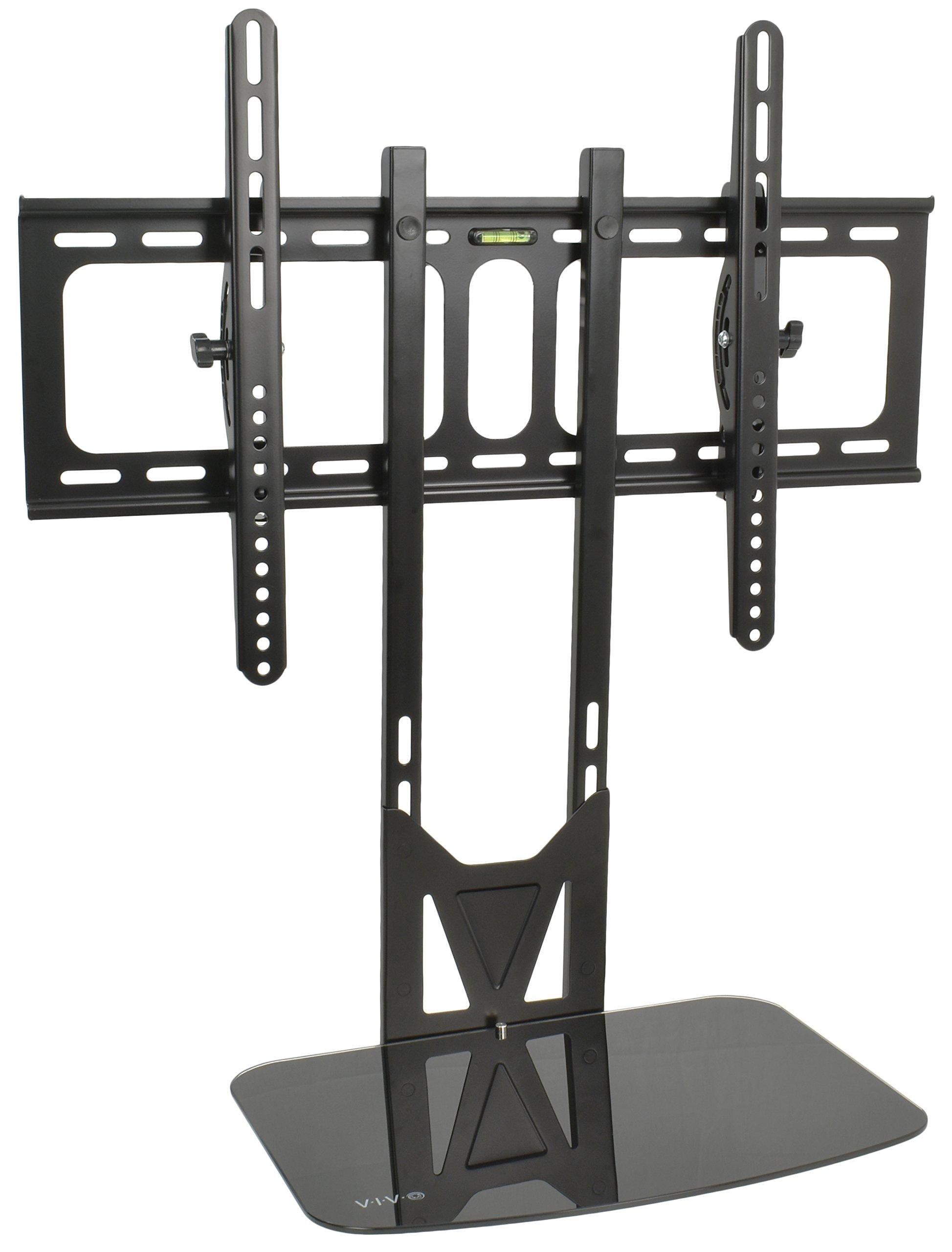 VIVO Black TV Fixed Tilt Wall Mount & Entertainment Shelf Floating AV, DVD Shelving for Screens up to 55'' (MOUNT-VW11)