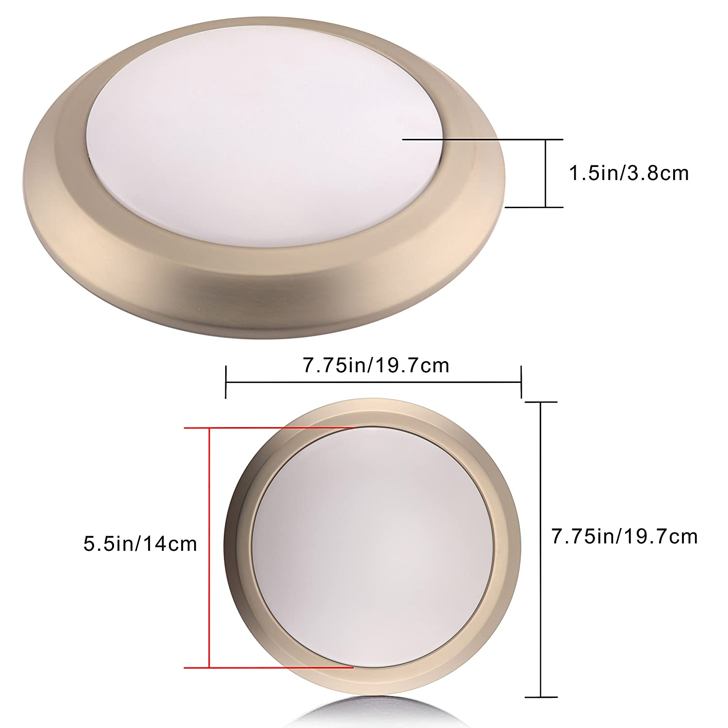 Amazon.com: LED Light Fixtures Ceiling Flush Mount Ceiling Light Fixture Dimmable for Bedroom,Hallway,7.5 Inch 17W (170W Equivalent) Brushed Nickel Finish ...