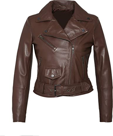 Womens Leather Jacket Stylish Motorcycle Biker Genuine Lambskin 241