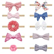 Baby Girl Headbands and Bows - Baby Girl Nylon Headbands Hair Accessories - Girls Hair Elastic Bow Tie Bands - Infant Toddler Newborn Girl Hair Accessories - 10 Pack Set - Great Baby Shower Gift