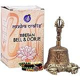 Mudra Crafts Tibetan Buddhist Handmade Meditation Altar Ritual Yoga Vajra Bell Dorje Set, Wood Prayer Beads with a Mandala Charm (Medium, Traditional Engraving)