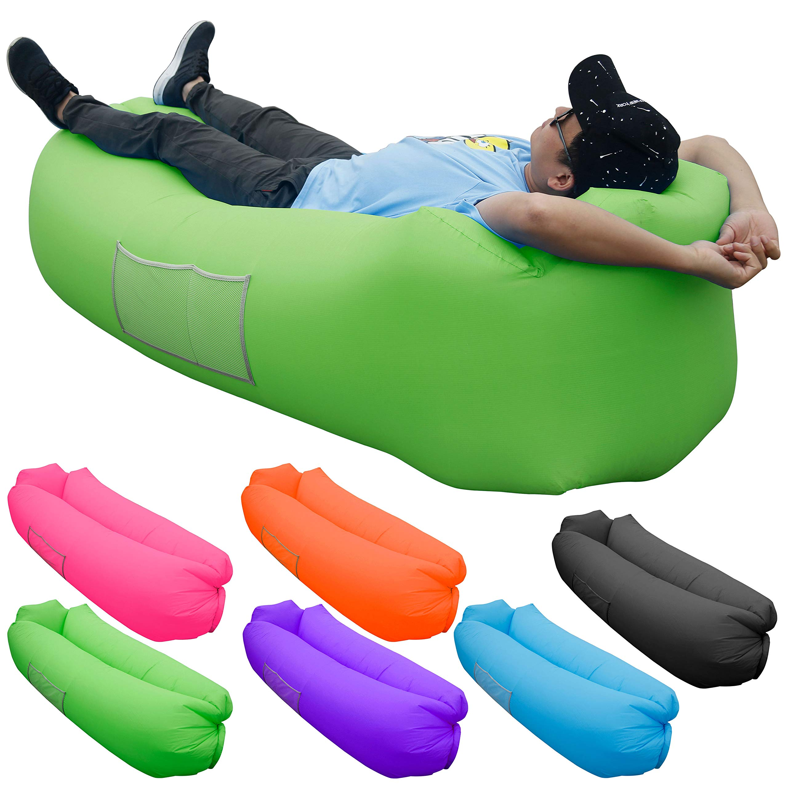 Skoloo Inflatable Lounger Air Sofa, Portable Water Proof Anti-Air Leaking & Pillow-Shaped Designed Couch for Backyard Pool Travel Camping Hiking Lakeside Picnics Music Festivals Beach Parties,Green by Skoloo