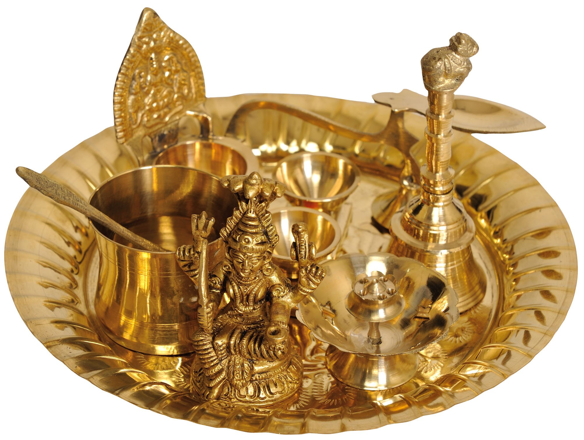 Exotic India ZCA72 Lord Shiva Puja Thali with Lakshmi Ji Diya