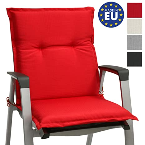 Beautissu cojín para sillas de Exterior, tumbonas, mecedoras o Asientos con Respaldo bajo Base NL 100x50x6 Placas compactas de gomaespuma - Rojo
