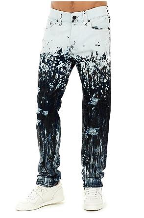 897f77389d True Religion Men's Distressed Rocco Skinny Paint Splatter Jeans in Worn  Dark Cosmic ...