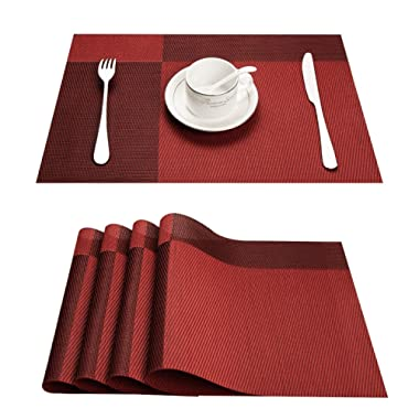 Top Finel Placemats for Dining Table,PVC Table Mats Set of 4,Place Mats Non-Slip Heat Resistant Washable,Red