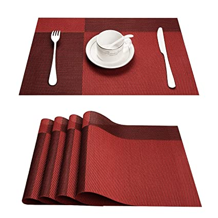 Amazon.com Top Finel Placemats for Dining TablePVC Table Mats Set of 4Place Mats Non-Slip Heat Resistant WashableRed Home \u0026 Kitchen  sc 1 st  Amazon.com & Amazon.com: Top Finel Placemats for Dining TablePVC Table Mats Set ...