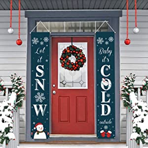 Dazonge Christmas Decorations | Let It Snow Sign for Front Door/Porch Decor | New Year Christmas Winter Party Decorations