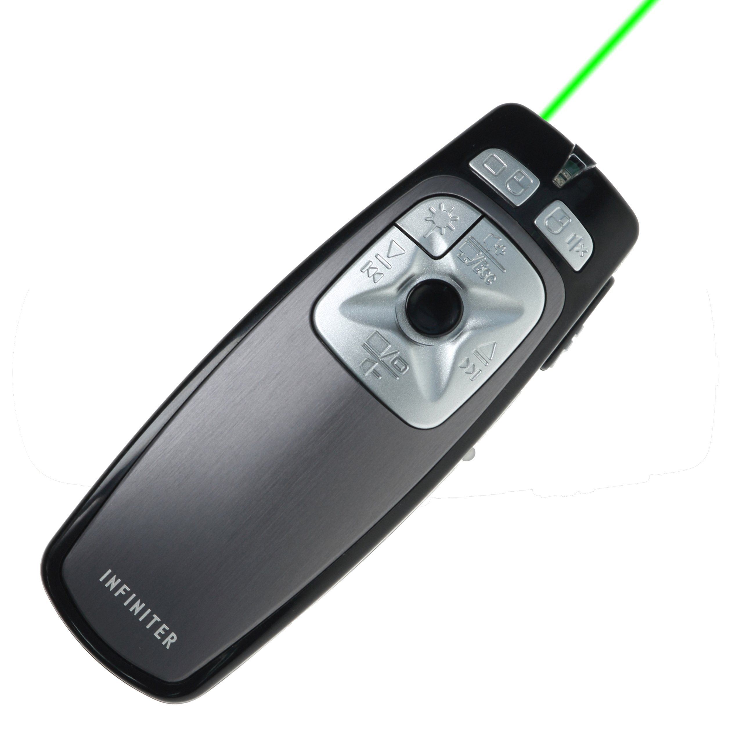 INFINITER LR-22GR Wireless Remote/Mouse/Presenter/Media Player/Quick Time Remote Controller for PC/Mac with Green Laser Pointer