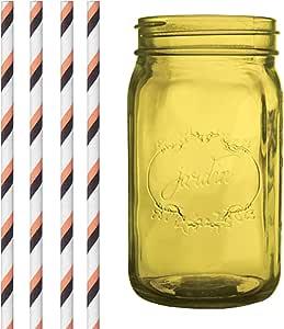 Dress My Cupcake Amber Yellow Vintage Jardin Mason Jar with Halloween Striped Straws, 32-Ounce