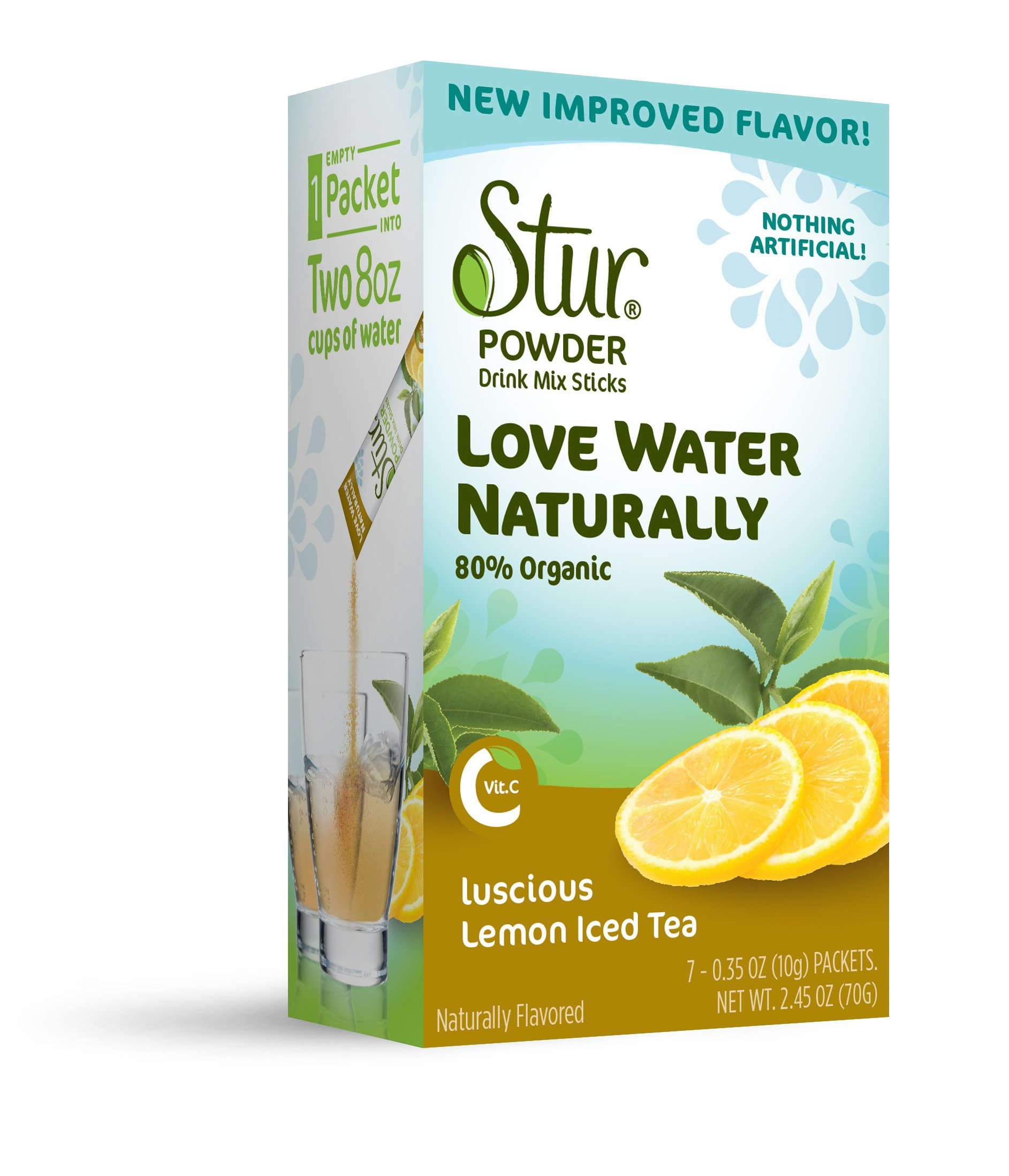 Stur Drinks - Lemon Iced Tea, Natural Powder Drink Mix, 42 Sticks, Makes 84 Servings, Made with Organic Cane Sugar, Stevia, and Natural Flavors, Contains High Antioxidant Vitamin C