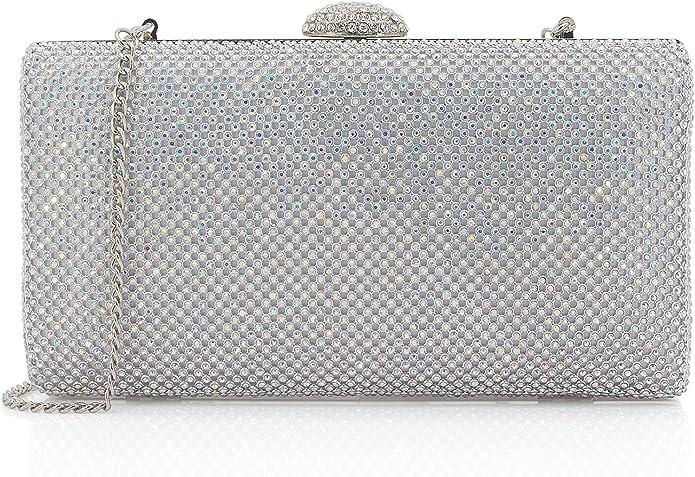Dazzling Crystal Satin Cocktail Evening Bag Clutch Cocktail Handbag Purse //ND