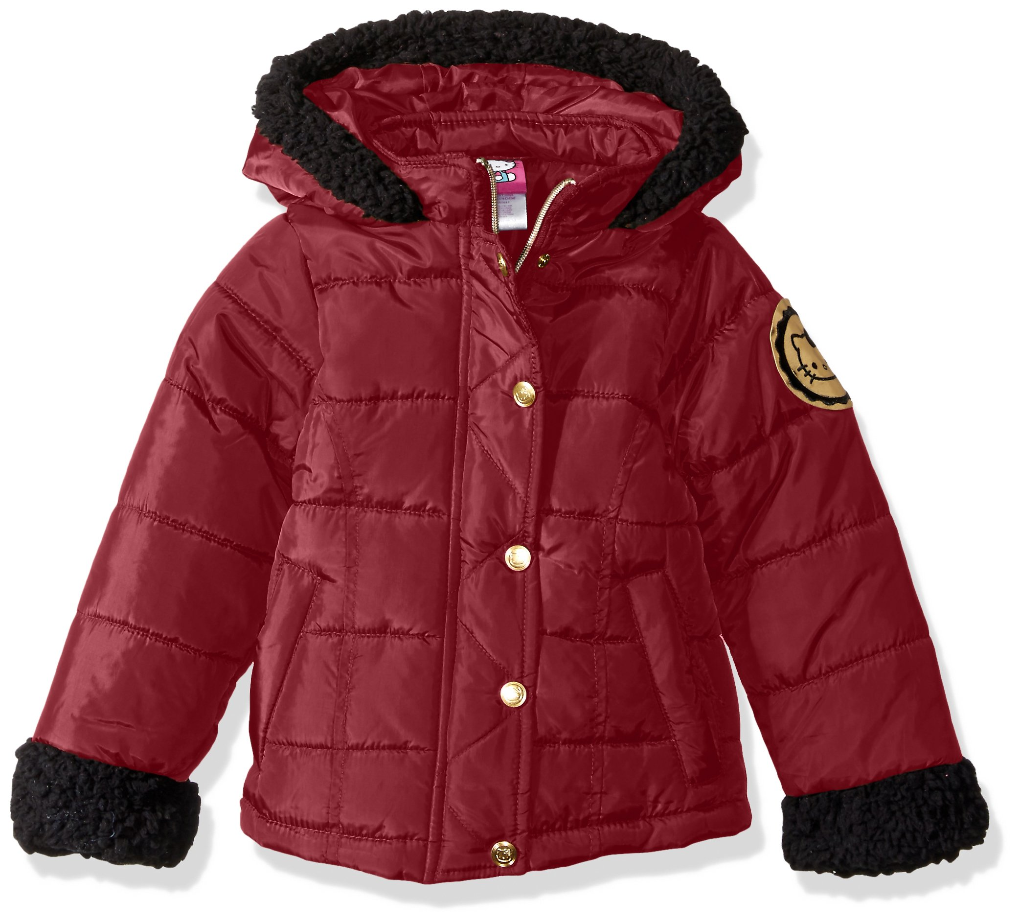 Hello Kitty Big Girls' Puffer Jacket with Sherpa Trim Hood and Sleeves, Red, 7