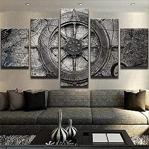 JESC Halloween Decoration Captain Ships Wheel Canvas Wall Art Fishing Boat Ocean Boat Nautical Decor Ocean Decor Sailor 5-Piece Wall Art