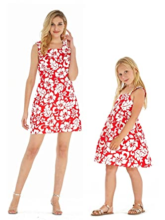 daf3a4a96158 Amazon.com: Matching Mother Daughter Hawaiian Luau Outfit Women Girl Dress  Classic Vintage Hibiscus Red: Clothing