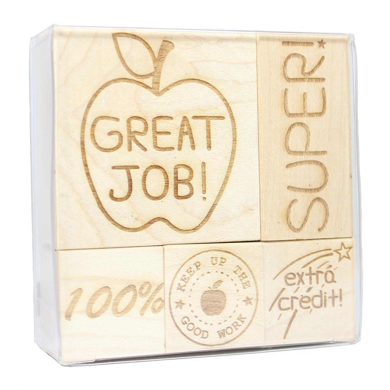 Teacher Engraved Wood Rubber Stamp Set - 1 Discount Rubber Stamps TEACHER_SET_1