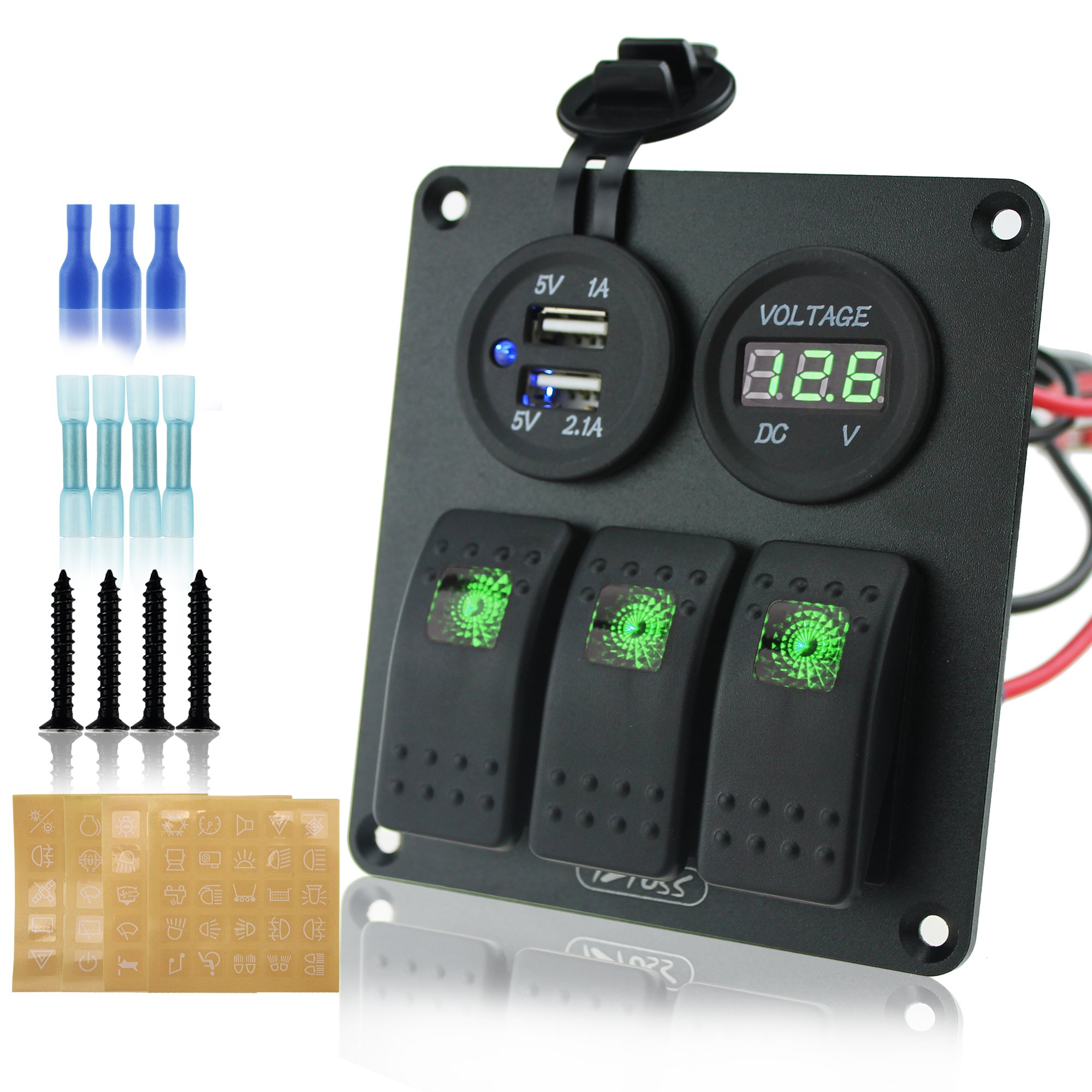Ambuker 3 gang rocker switch panel with power socket 3.1A dual USB wiring kits and voltmeter and Decal Sticker Labels DC12V/24V for Marine Boat Car Rv Vehicles Truck by Ambuker