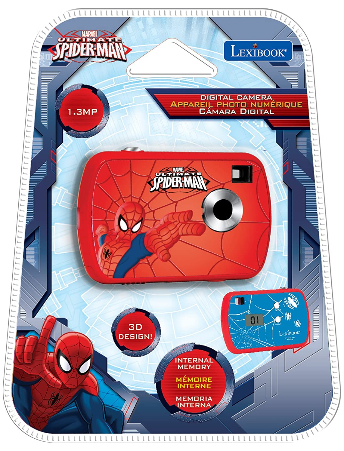 Amazon.es: Spider-Man - Cámara digital de 1.3 MP, color rojo / azul (Lexibook DJ018SP)