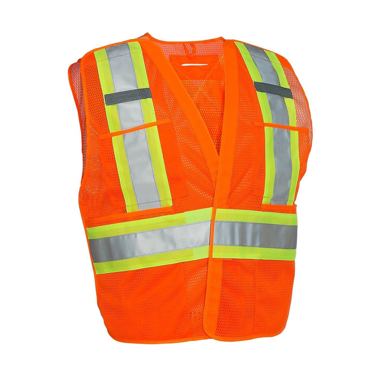 5-Point Tear-away Hi Vis Mesh Traffic Safety Vest, 3 Sizes