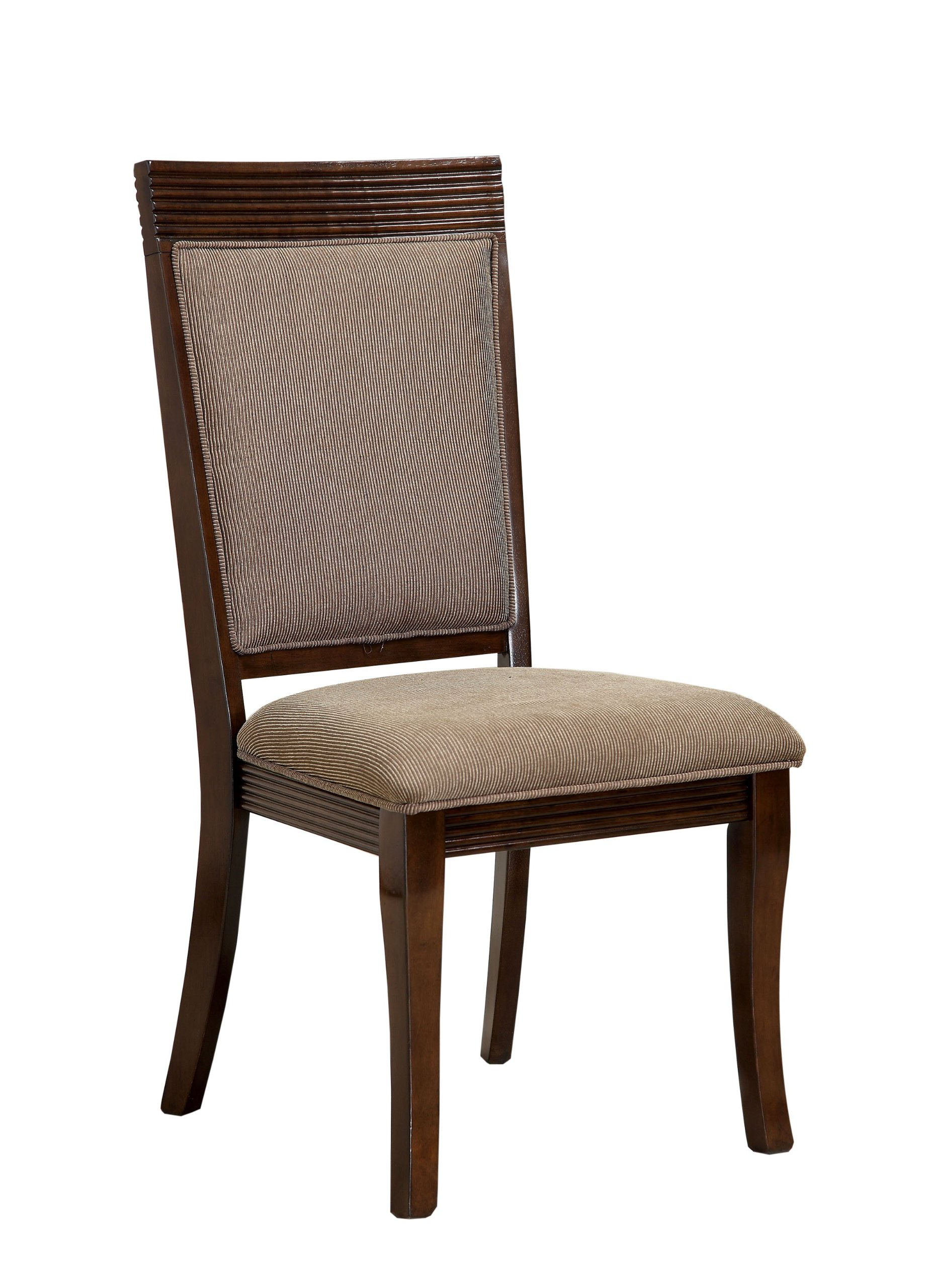 Furniture of America Aiken Formal Padded Fabric Side Chair, Walnut Finish, Set of 2