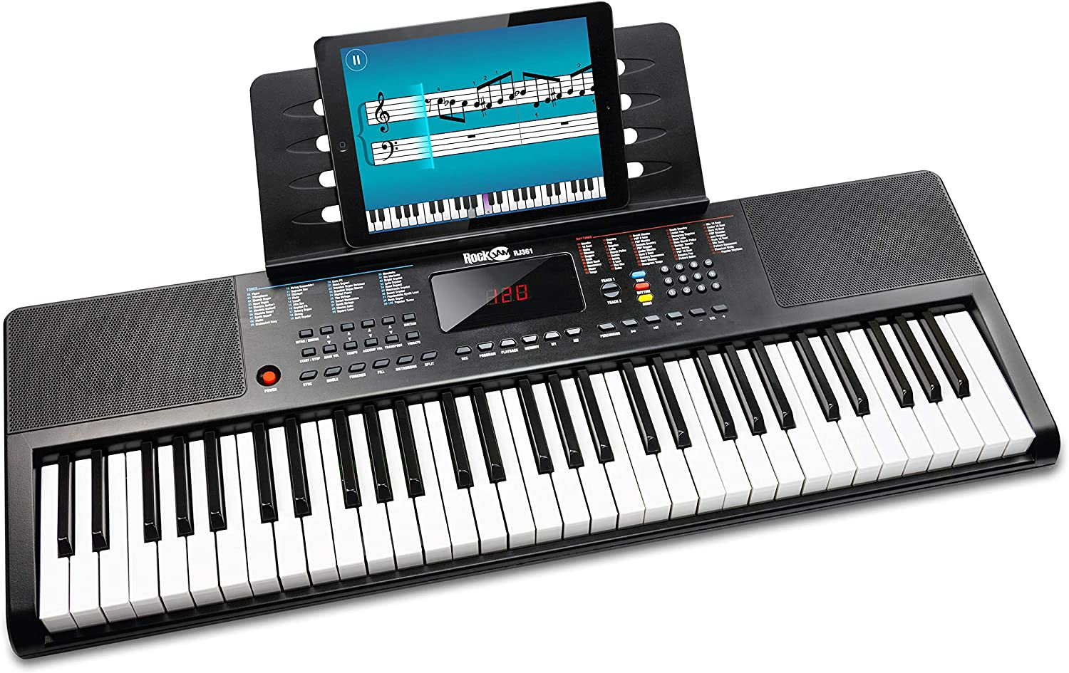 RockJam 61 Portable Electronic Keyboard with Key Note Stickers, Power Supply and Simply Piano App Content, (RJ361)