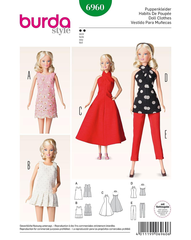 Burda Patrón 6960 Idea Creativa Ropa de muñeca: Amazon.es: Hogar