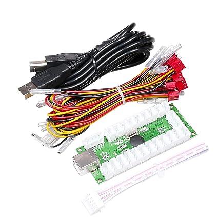 EG STARTS Zero Delay USB Encoder to PC LED Joystick Set Compatible LED  Arcade Joystick DIY Kit Controller Part Mame Games (5Pin Cable + 10x 3Pin  2 8mm