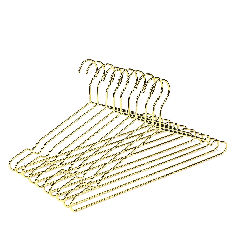 Slim Shirt Hangers Strong Coat Hanger 10 Pack Amber Home Heavy Duty Gold Wire Metal Coat Hanger Clothes Hangers Metal Hangers with notches Gold