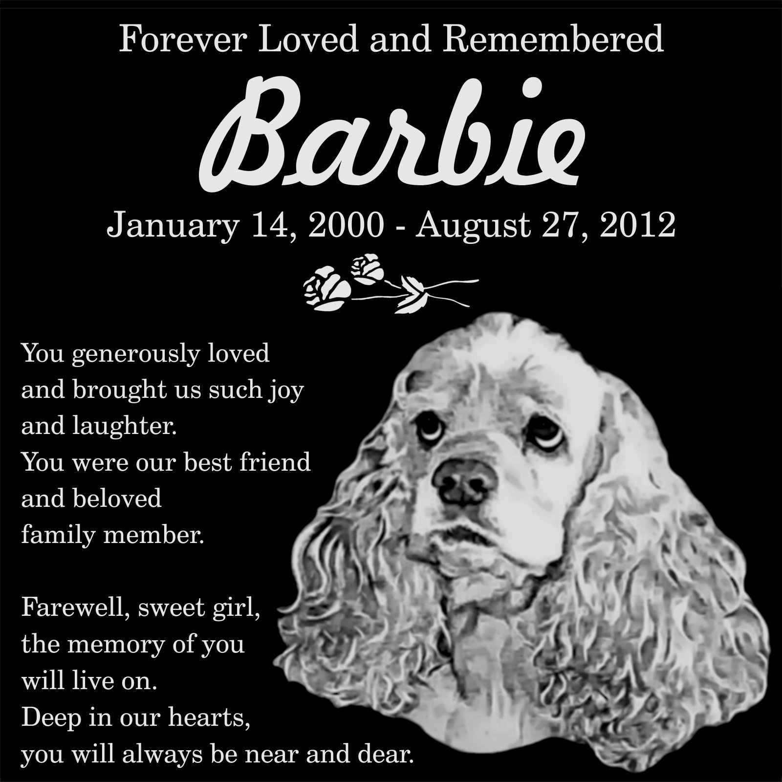 Personalized American Cocker Spaniel Dog Pet Memorial 12''x12'' Engraved Black Granite Grave Marker Head Stone Plaque BAR2 by Lazzari Collections (Image #1)