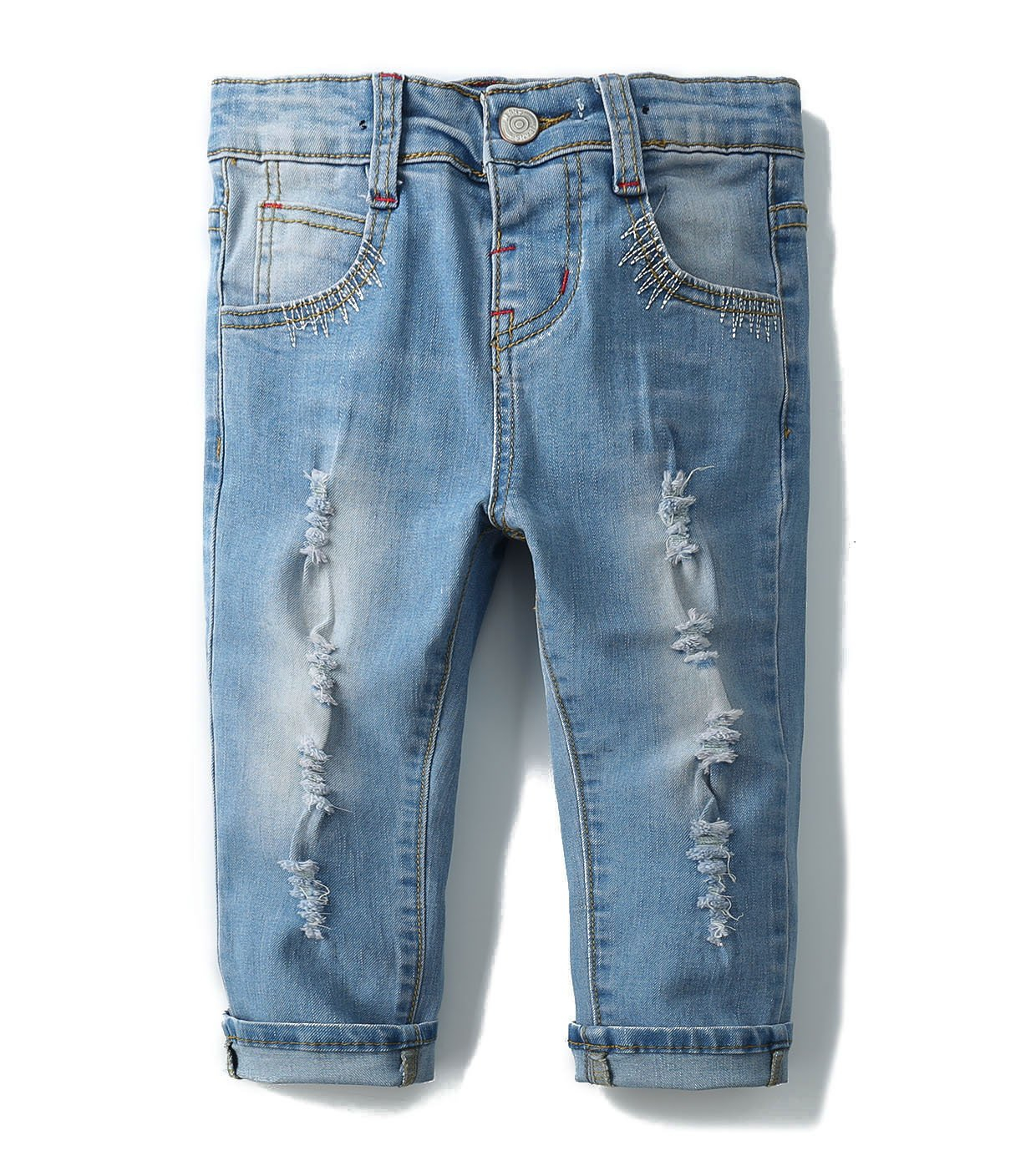 Kidscool Girls Ripped Holes Stretchy Stone Washed Soft Jeans,Blue,4