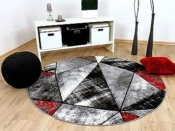 Designer Teppich Brilliant Rot Grau Magic Rund In 3 Grossen Amazon