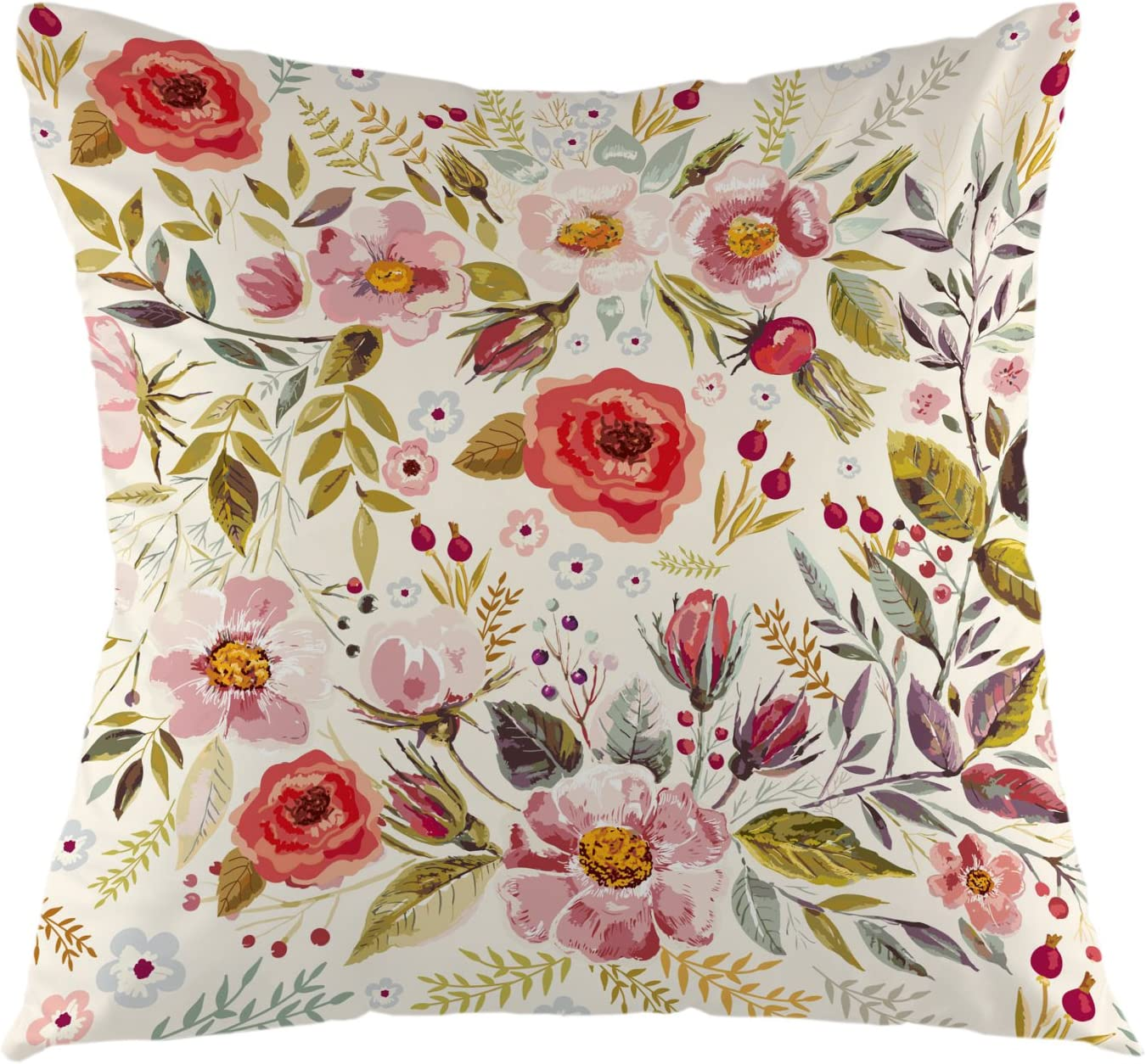 Amazon Com Ofloral Flower Decorative Throw Pillow Cover Luxurious Peony Flower Pillow Case Square Cushion Cover For Sofa Couch Home Car Bedroom Living Room 18 X 18 Yellow Red Home Kitchen