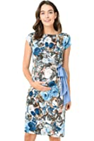 LaClef Women's Adjustable Side Tie Knee Length Printed Short Sleeve Maternity Dress