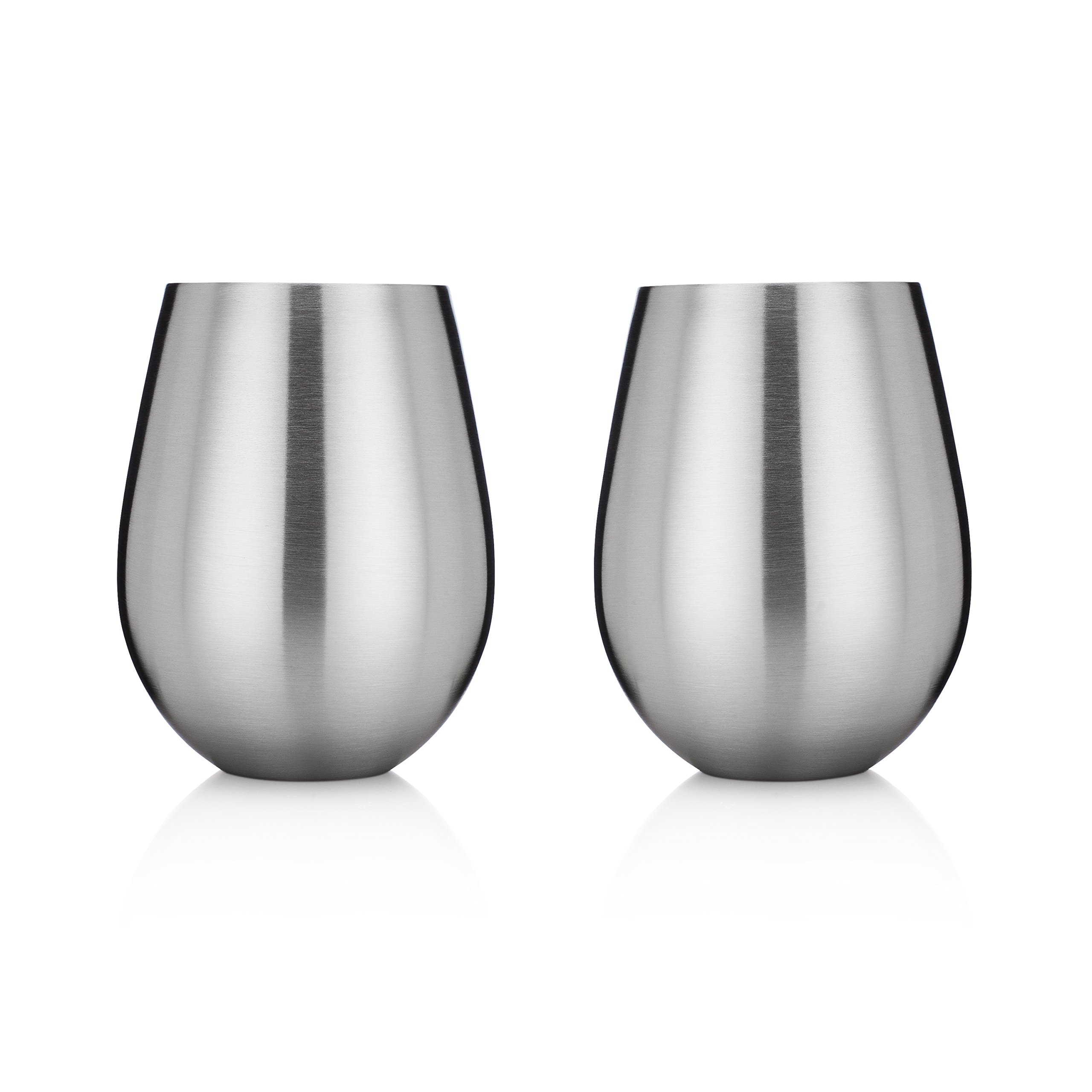 Stainless Steel Stemless Wine Glasses by Avito - 12 oz. and Shatterproof - BPA Free Healthy Choice - Set of 2 - Best Value