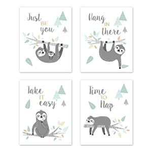 Sweet Jojo Designs Blue Grey Jungle Sloth Leaf Wall Art Prints Room Decor for Baby Nursery Kids - Set of 4 - Hang in There, Take it Easy, Turquoise Gray Green Tropical Botanical Rainforest