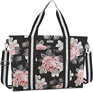 MOSISO Laptop Tote Bag for Women (Up to 17.3 inch), Canvas Rose Multifunctional Work Travel Shopping Duffel Carrying Shoulder Handbag Compatible with MacBook, Notebook and Chromebook, Black