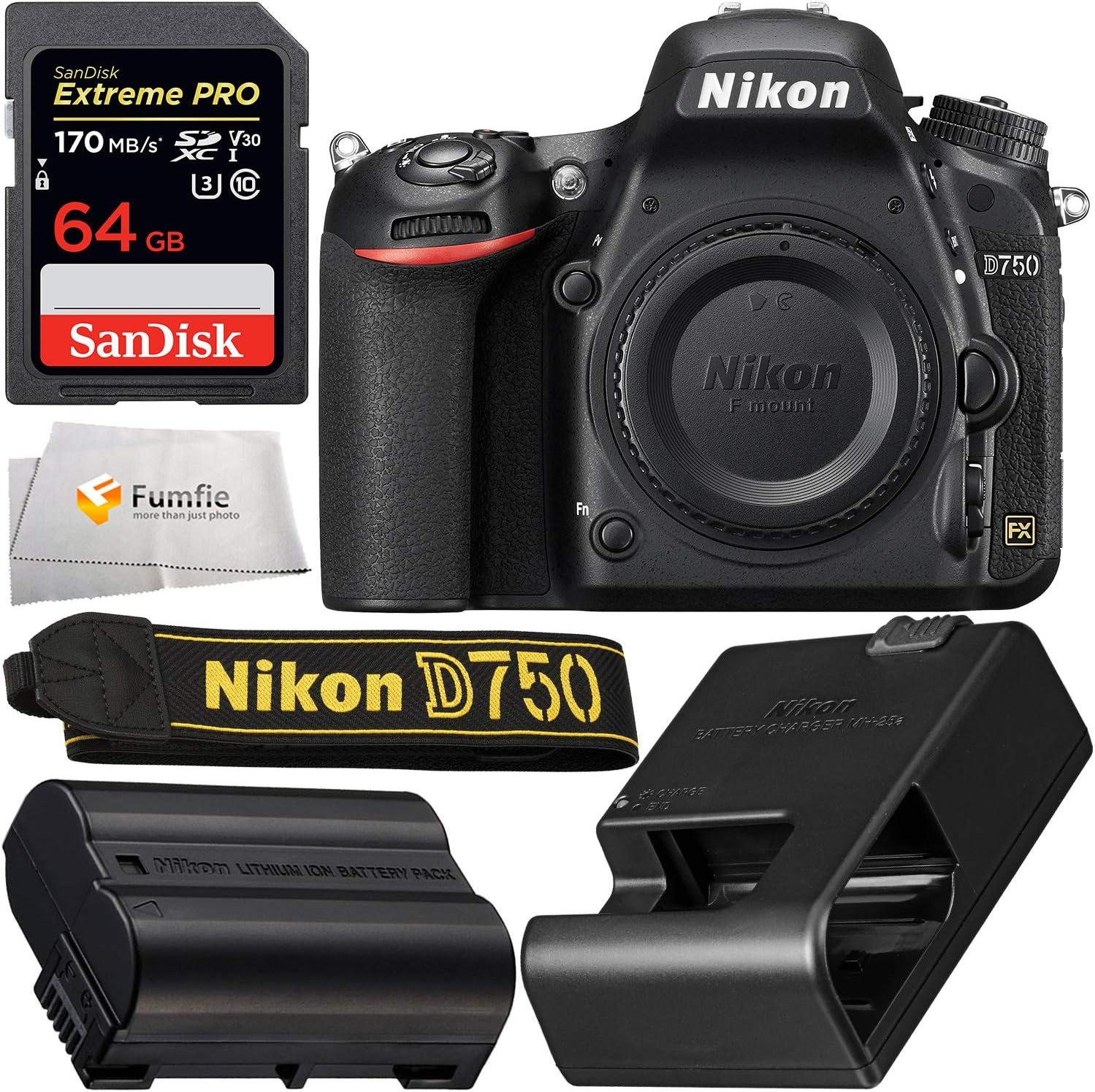 Nikon D750 DSLR Camera: Includes Promotional SanDisk Extreme PRO 64GB SDXC Memory Card