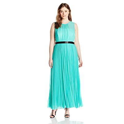 ABS by Allen Schwartz Women's Plus-Size Sheer Gown with Pleated Skirt at Women's Clothing store